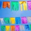 Colorful tissue Paper fringe garland under blue sky — Stockfoto
