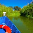 Blue boat sailing in Albufera lake of Valencia — Stock Photo
