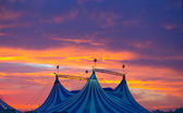 Circus tent in a dramatic sunset sky colorful — Foto de Stock