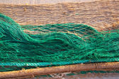 Fishing nets texture pattern over soil — Stock Photo