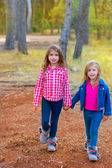 Children sister girls walking at the pine forest — Stock Photo