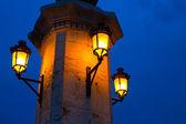 City of valencia night bridge Puente del Mar — Stock Photo