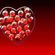 Christmas baubles heart shape in red and gold — Foto Stock