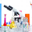 Stock Photo: Chemical scientific laboratory stuff test tube flask