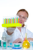 Chemical laboratory scientist woman with test tube — Stock Photo