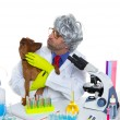 Crazy nerd scientist silly veterinary man with dog at lab — Photo