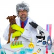 Crazy nerd scientist silly veterinary man with dog at lab — Stock Photo