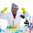 Royalty-Free Stock Photo: Crazy mad nerd scientist funny expression at lab