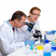 Chemical laboratory with two scientist working — Stock Photo