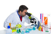 Chemical laboratory scientist man looking microscope — Foto Stock