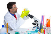 Chemical laboratory scientist man with test tubes — Stock Photo