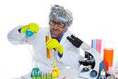 Crazy mad nerd scientist funny expression at lab — Stock Photo