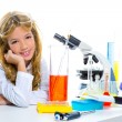 Children student girl in kid chemical laboratory — Stock Photo