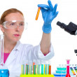 Chemical laboratory scientist woman with test tube — Stock Photo #16087673