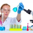 Chemical laboratory scientist woman with glass flask — Stock Photo