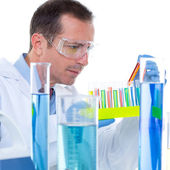 Laboratory scientist working at lab with test tubes — Stock Photo