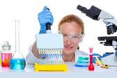 Chemical laboratory scientist woman multi channel pipette — Stock Photo