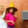 Children 70s two kid friend girls in retro party — Stock Photo #16102691