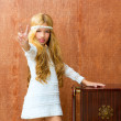 Blond children girl retro 70s with vintage furniture — Stock Photo