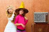 Children 70s two kid friend girls in retro party — Stok fotoğraf