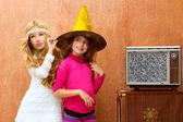 Children 70s two kid friend girls in retro party — Stock Photo