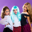 Children group of fashiondoll fashion girls on purple — Stock Photo