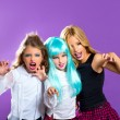 Children group of fashiondoll scaring girls on purple — Stock Photo