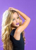 Blond children fashiondoll girl fashion makeup — Stock Photo