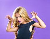 Blond children fashiondoll girl fashion makeup scaring — Stock Photo
