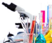 Chemical scientific laboratory stuff test tube flask — Stock Photo
