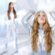 Futuristic children girl and astronaut woman - Stock Photo