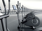 Futuristic modern gym with elliptical cross trainer — Stock Photo