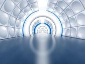 Túnel futurista como corredor de nave espacial — Foto de Stock