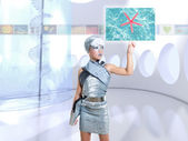 Futuristic children girl in silver finger touch images — Stock Photo