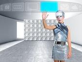 Futuristic children girl touch finger copyspace screen — Stock Photo