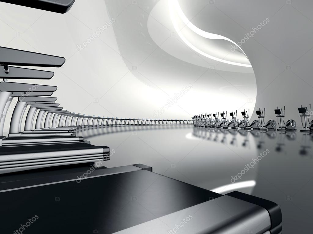 futuristisch modernes fitnessstudio mit laufband und crosstrainer stockfoto lunamarina 16133013. Black Bedroom Furniture Sets. Home Design Ideas