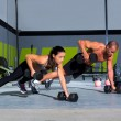 Stock Photo: Gym mand wompush-up strength pushup