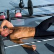 Crossfit man tired relaxed after workout — 图库照片