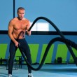 Crossfit battling ropes at gym workout exercise — Stock Photo #18029431