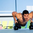 Gym man push-up strength pushup with Kettlebell — Stock Photo #18029669