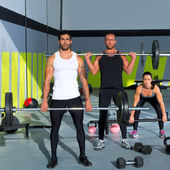 Grupo de ginástica com levantamento de peso barra treino crossfit — Foto Stock