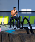 Crossfit battling ropes at gym workout exercise — Stock Photo