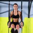 Crossfit dip ring womworkout at gym dipping — Stock Photo #18030145