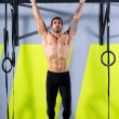 Stock Photo: Crossfit toes to bar mpull-ups 2 bars workout