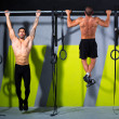 Crossfit toes to bar men pull-ups 2 bars workout - Stock Photo