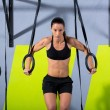 Crossfit dip ring womworkout at gym dipping — Stock Photo #18030509