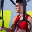 Crossfit dip ring young manman relaxed after workout — Lizenzfreies Foto