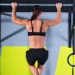 Crossfit toes to bar woman pull-ups 2 bars workout - Stock Photo