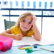 Child student kid girl bored with homework on desk — Stock Photo #18417949