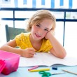 Child student kid girl happy smiling with homework — Foto Stock